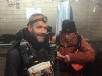 Alan Cormack and Martin Hill gearing up in the boot room at CP4