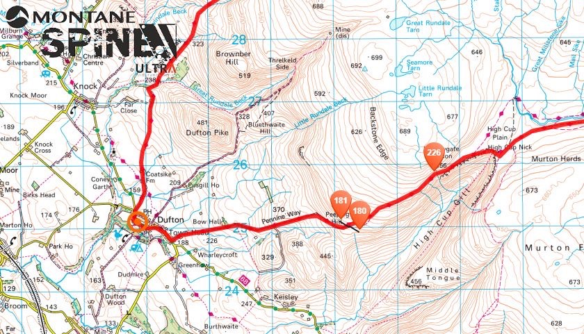 Runners making their way from High Cup Nick to Dufton. Each runner carries GPS trackers - a vital safety feature which allows race organisers to keep an eye on where everyone is and also enables people to 'dot-watch' from the warmth and comfort of their homes