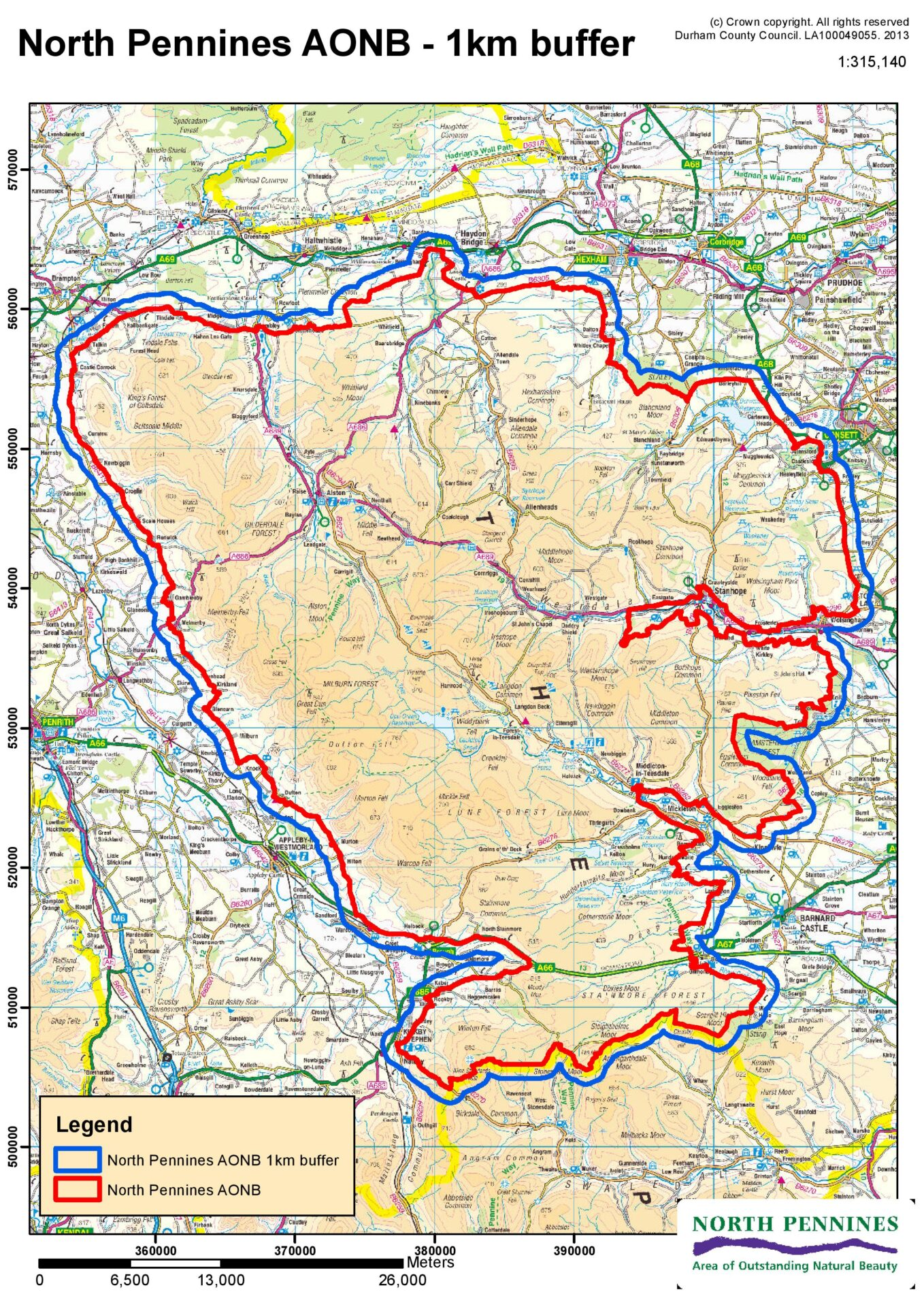 Map of the AONB with 1km buffer zone