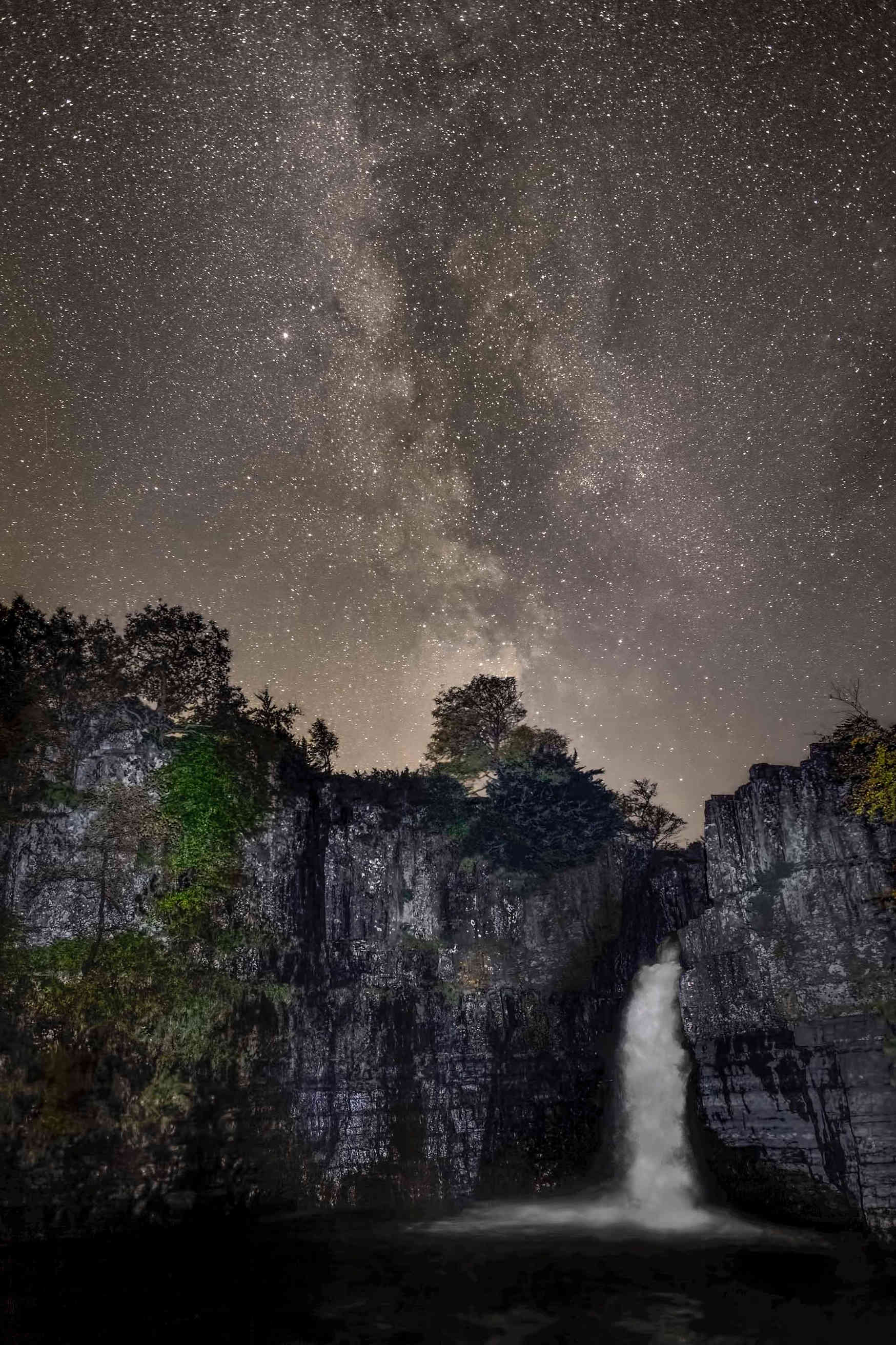 The Milky Way over High Force waterfall