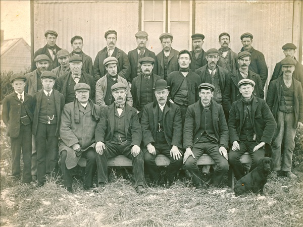 Photo of men who worked on building Castle Carrock reservoir