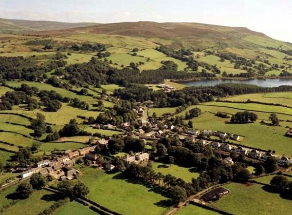 Aerial photo of Castle Carrock village and reservoir