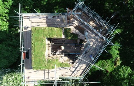 Image of top of Kirkoswald castle surrounded by scaffolding