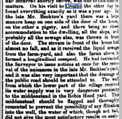 Picture of copy of typhoid article in Cumberland and Westmorland Herald Nov 1874