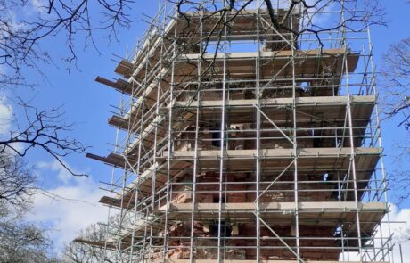 Image of Kirkoswald Castle surrounded by scaffolding