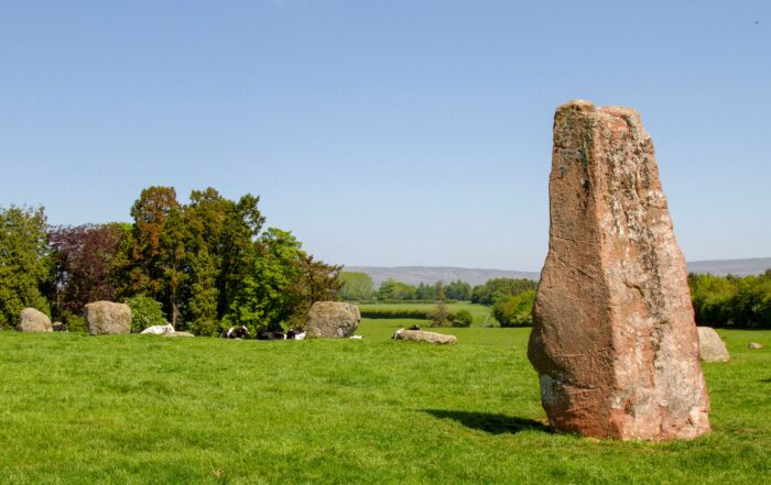 Photograph of standing stone Long Meg and some of the stones that form the circle