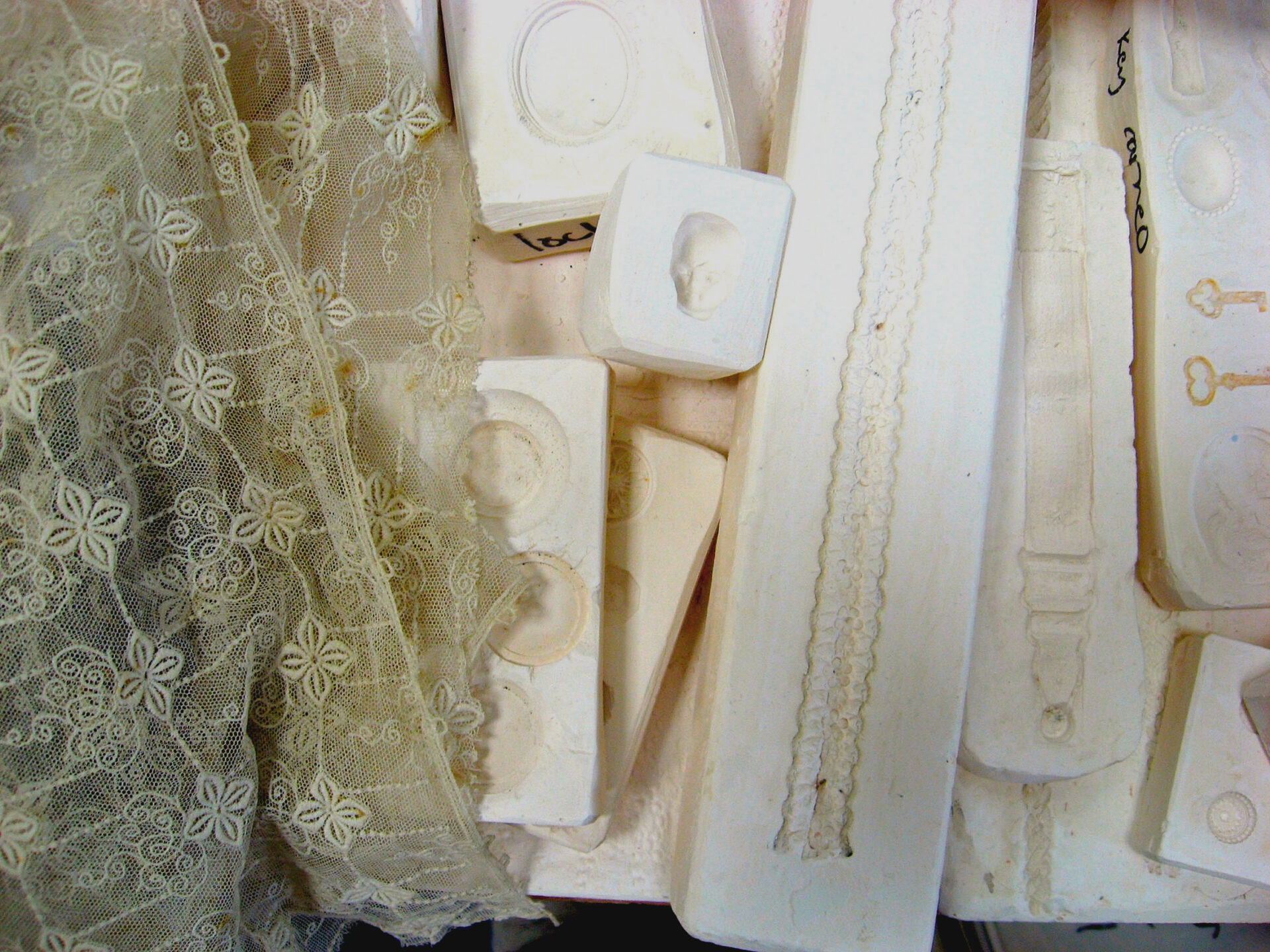 Image of moulds used for pressing ceramic clay into shapes